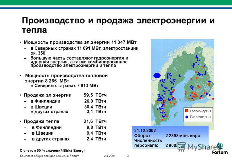 Комплект общих слайдов концерна Fortum32.4.2001 Производство и продажа электроэнергии и тепла Мощность производства эл.энергии 11 347 МВт –в Северных странах 11 091 MВт, электростанций ок. 350 –большую часть составляют гидроэнергия и ядерная энергия,