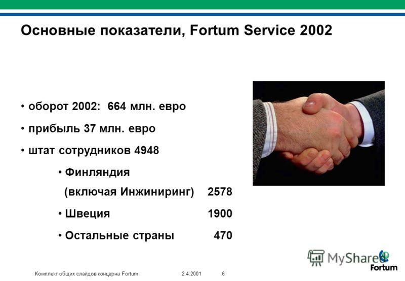Комплект общих слайдов концерна Fortum62.4.2001 оборот 2002: 664 млн. евро прибыль 37 млн. евро штат сотрудников 4948 Финляндия (включая Инжиниринг)2578 Швеция1900 Остальные страны 470 оборот 2002: 664 млн. евро прибыль 37 млн. евро штат сотрудников