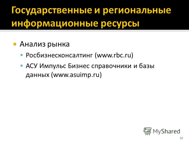Анализ рынка Росбизнесконсалтинг (www.rbc.ru) АСУ Импульс Бизнес справочники и базы данных (www.asuimp.ru) 10