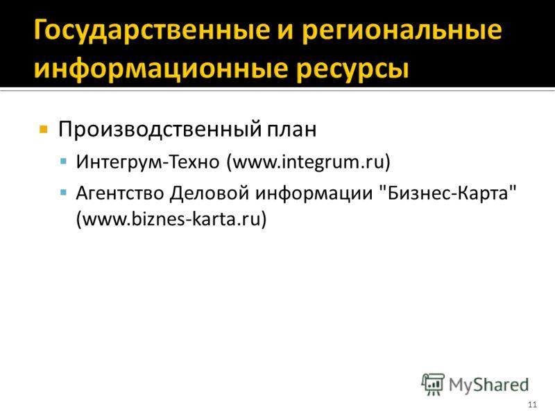 Производственный план Интегрум-Техно (www.integrum.ru) Агентство Деловой информации Бизнес-Карта (www.biznes-karta.ru) 11