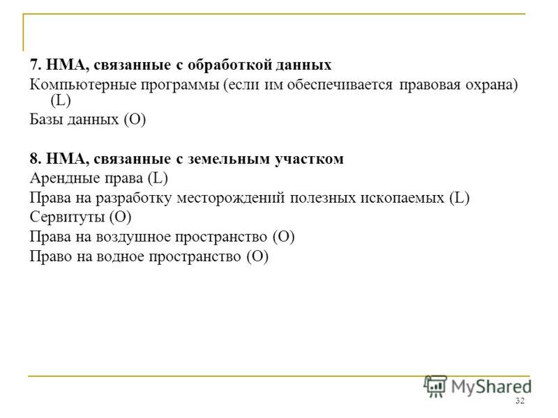 32 7. НМА, связанные с обработкой данных Компьютерные программы (если им обеспечивается правовая охрана) (L) Базы данных (О) 8. НМА, связанные с земельным участком Арендные права (L) Права на разработку месторождений полезных ископаемых (L) Сервитуты