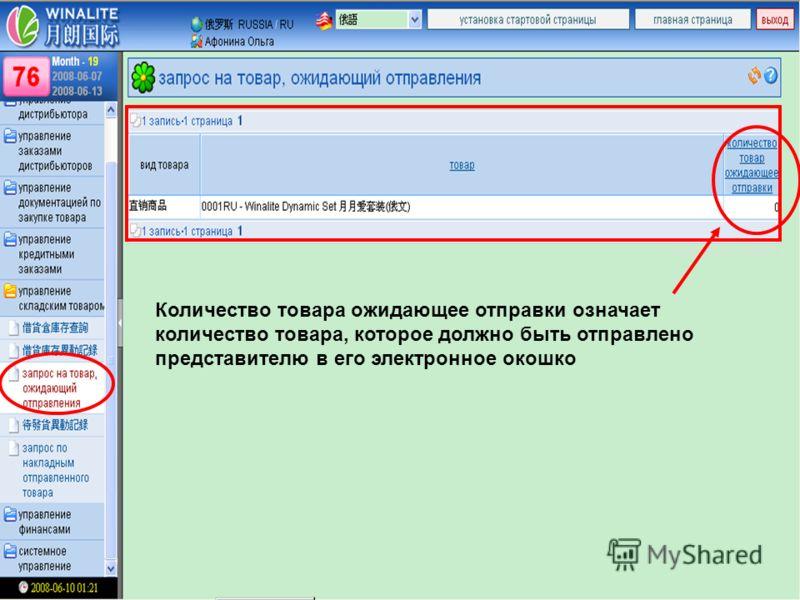 Количество товара ожидающее отправки означает количество товара, которое должно быть отправлено представителю в его электронное окошко