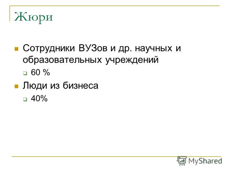 Жюри Сотрудники ВУЗов и др. научных и образовательных учреждений 60 % Люди из бизнеса 40%