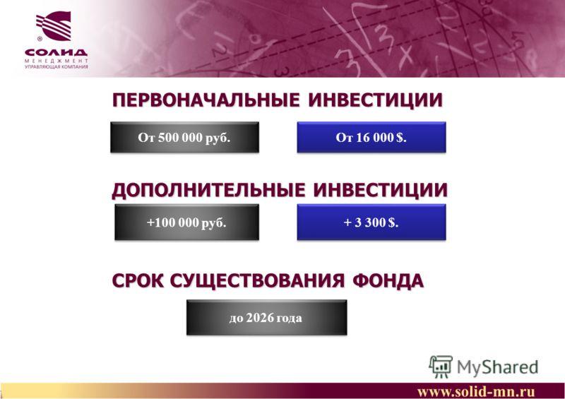 www.solid-mn.ru ПЕРВОНАЧАЛЬНЫЕ ИНВЕСТИЦИИ ДОПОЛНИТЕЛЬНЫЕ ИНВЕСТИЦИИ СРОК СУЩЕСТВОВАНИЯ ФОНДА От 500 000 руб. +100 000 руб. до 2026 года От 16 000 $. + 3 300 $.