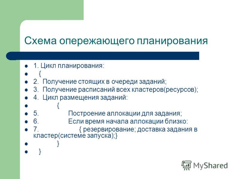 Схема опережающего планирования 1. Цикл планирования: { 2. Получение стоящих в очереди заданий; 3. Получение расписаний всех кластеров(ресурсов); 4. Цикл размещения заданий: { 5. Построение аллокации для задания; 6. Если время начала аллокации близко