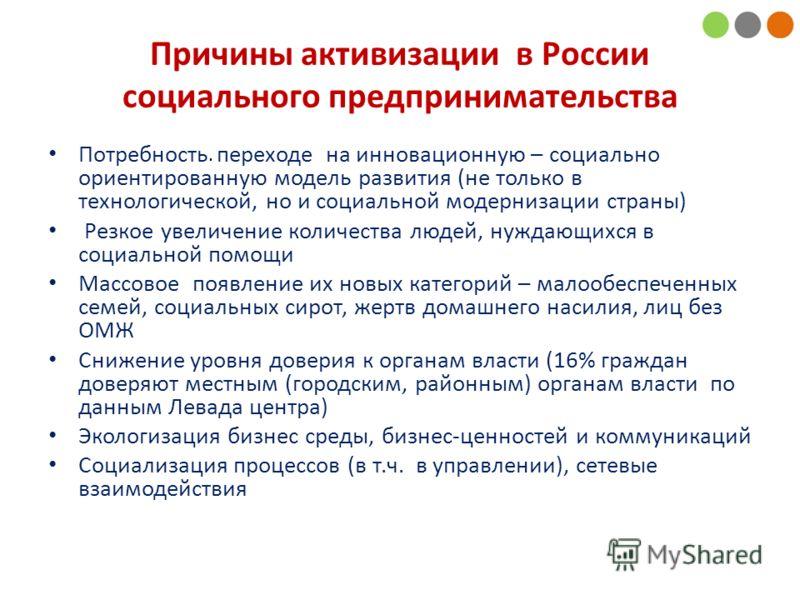 . Причины активизации в России социального предпринимательства Потребность переходе на инновационную – социально ориентированную модель развития (не только в технологической, но и социальной модернизации страны) Резкое увеличение количества людей, ну