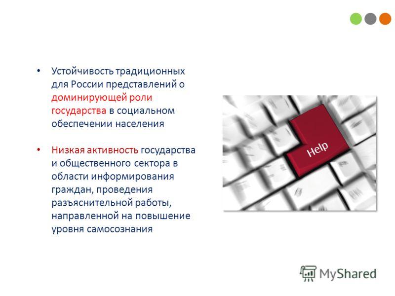 Устойчивость традиционных для России представлений о доминирующей роли государства в социальном обеспечении населения Низкая активность государства и общественного сектора в области информирования граждан, проведения разъяснительной работы, направлен