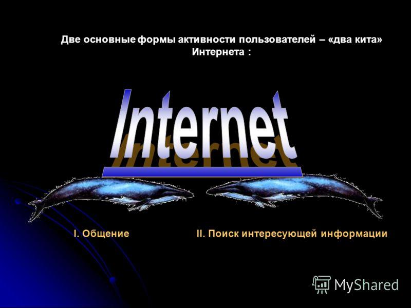 Две основные формы активности пользователей – «два кита» Интернета : I. ОбщениеII. Поиск интересующей информации
