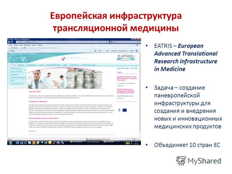 Европейская инфраструктура трансляционной медицины EATRIS – European Advanced Translational Research Infrastructure in Medicine Задача – создание паневропейской инфраструктуры для создания и внедрения новых и инновационных медицинских продуктов Объед