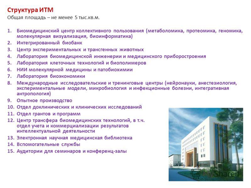Структура ИТМ Общая площадь – не менее 5 тыс.кв.м. 1.Биомедицинский центр коллективного пользования (метаболомика, протеомика, геномика, молекулярная визуализация, биоинформатика) 2.Интегрированный биобанк 3.Центр экспериментальных и трансгенных живо
