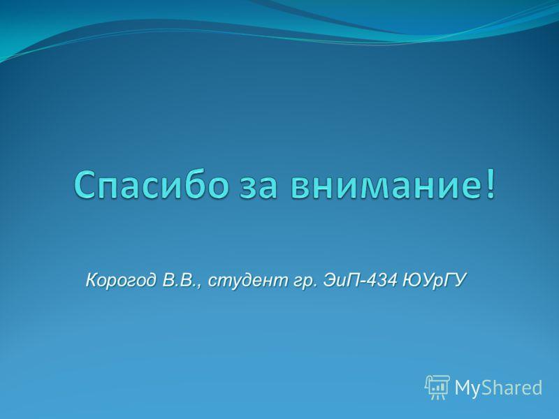 Корогод В.В., студент гр. ЭиП-434 ЮУрГУ