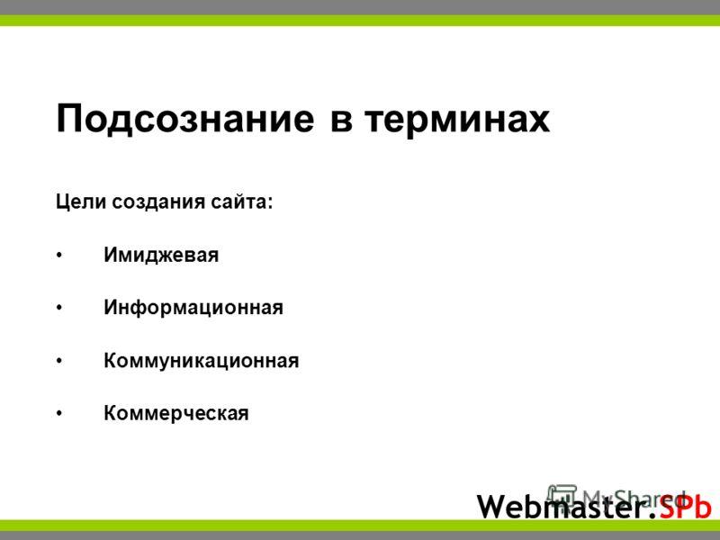 Webmaster.SPb Подсознание в терминах Цели создания сайта: Имиджевая Информационная Коммуникационная Коммерческая