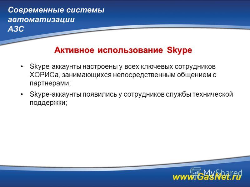 Активное использование Skype Skype-аккаунты настроены у всех ключевых сотрудников ХОРИСа, занимающихся непосредственным общением с партнерами; Skype-аккаунты появились у сотрудников службы технической поддержки;