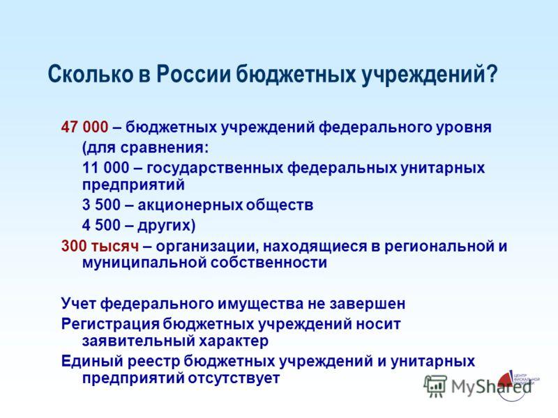 Сколько в России бюджетных учреждений? 47 000 – бюджетных учреждений федерального уровня (для сравнения: 11 000 – государственных федеральных унитарных предприятий 3 500 – акционерных обществ 4 500 – других) 300 тысяч – организации, находящиеся в рег