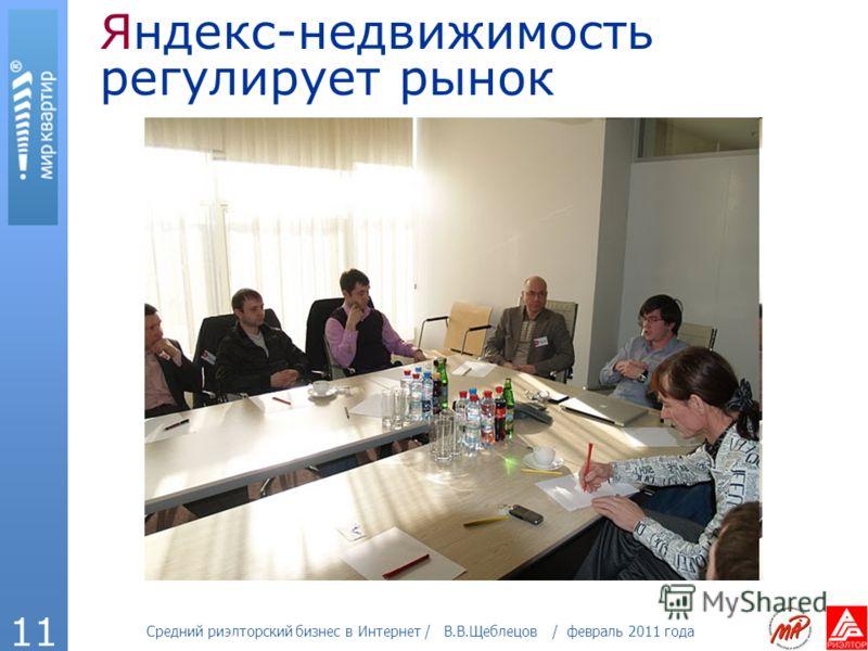 Средний риэлторский бизнес в Интернет / В.В.Щеблецов / февраль 2011 года 11 Яндекс-недвижимость регулирует рынок