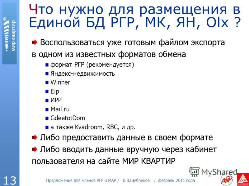 Предложение для членов РГР и МАР / В.В.Щеблецов / февраль 2011 года 13 Что нужно для размещения в Единой БД РГР, МК, ЯН, Olx ? Воспользоваться уже готовым файлом экспорта в одном из известных форматов обмена формат РГР (рекомендуется) Яндекс-недвижим