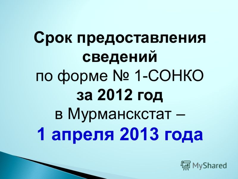 Срок предоставления сведений по форме 1-СОНКО за 2012 год в Мурманскстат – 1 апреля 2013 года