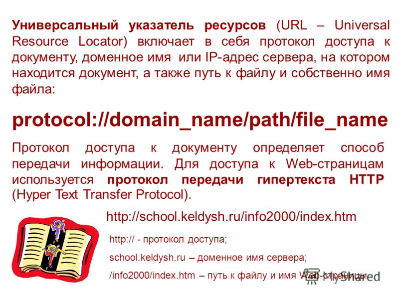Универсальный указатель ресурсов (URL – Universal Resource Locator) включает в себя протокол доступа к документу, доменное имя или IP-адрес сервера, на котором находится документ, а также путь к файлу и собственно имя файла: protocol://domain_name/pa