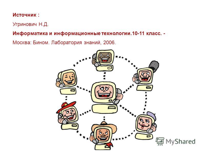 Источник : Угринович Н.Д. Информатика и информационные технологии.10-11 класс. - Москва: Бином. Лаборатория знаний, 2006.