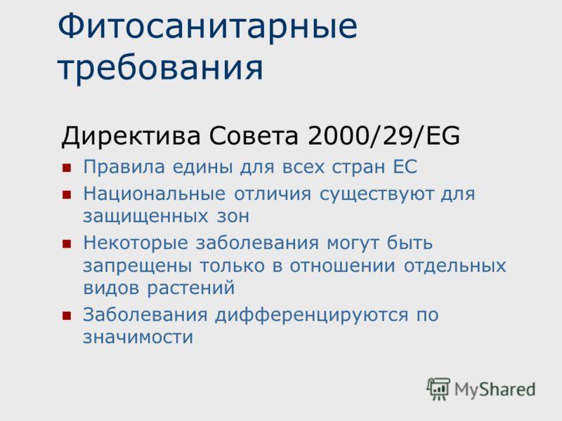 Фитосанитарные требования Директива Совета 2000/29/EG Правила едины для всех стран ЕС Национальные отличия существуют для защищенных зон Некоторые заболевания могут быть запрещены только в отношении отдельных видов растений Заболевания дифференцируют