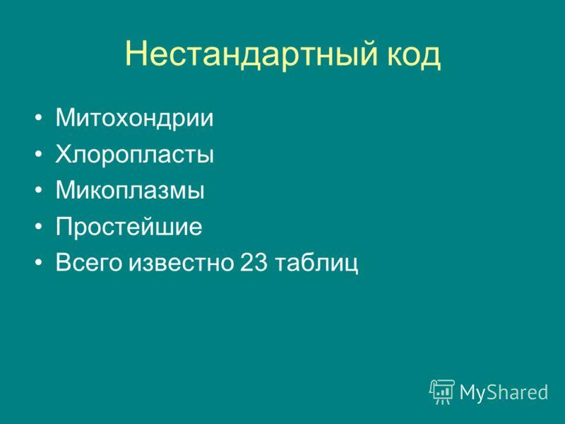 Нестандартный код Митохондрии Хлоропласты Микоплазмы Простейшие Всего известно 23 таблиц