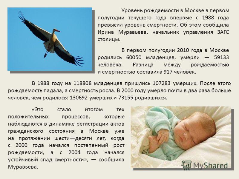 «Это стало итогом тех положительных процессов, которые наблюдаются в динамике регистрации актов гражданского состояния в Москве уже на протяжении шестидесяти лет, когда с 2000 года начался постепенный рост рождаемости, а с 2004 года начался устойчивы