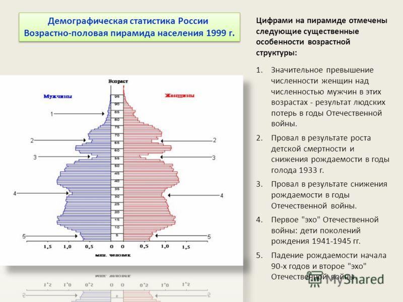Демографическая статистика России Возрастно-половая пирамида населения 1999 г. Демографическая статистика России Возрастно-половая пирамида населения 1999 г. Цифрами на пирамиде отмечены следующие существенные особенности возрастной структуры: 1.Знач