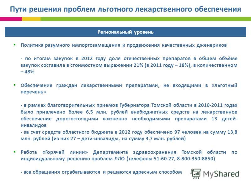 Политика разумного импортозамещения и продвижения качественных дженериков - по итогам закупок в 2012 году доля отечественных препаратов в общем объёме закупок составила в стоимостном выражении 21% (в 2011 году – 18%), в количественном – 48% Обеспечен