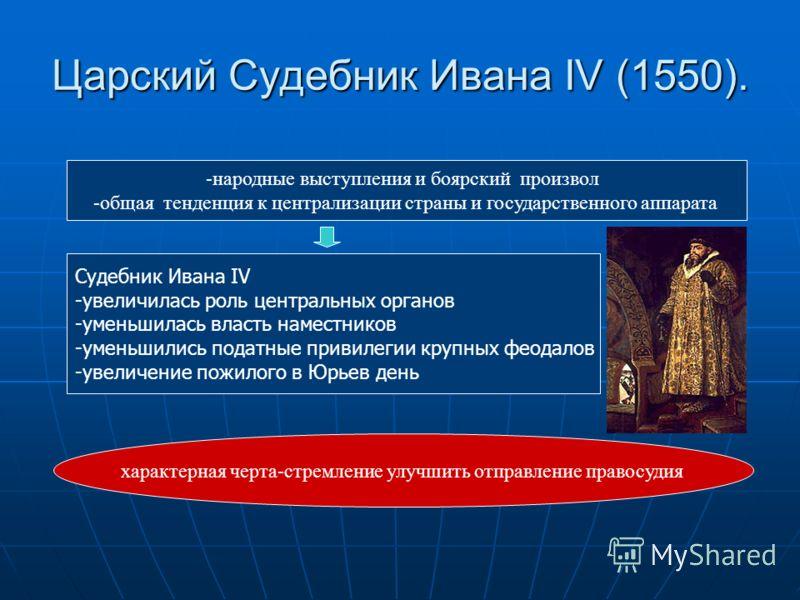 Царский Судебник Ивана IV (1550). -народные выступления и боярский произвол -общая тенденция к централизации страны и государственного аппарата Судебник Ивана IV -увеличилась роль центральных органов -уменьшилась власть наместников -уменьшились подат