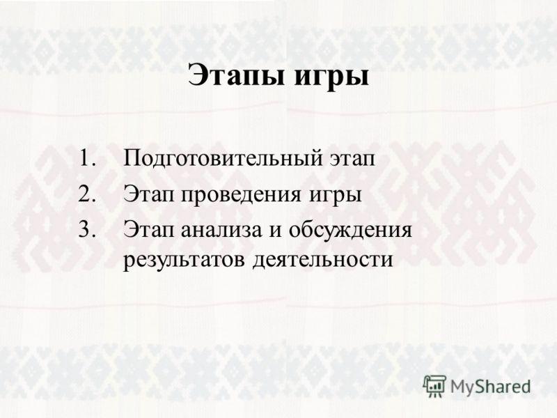 Этапы игры 1.Подготовительный этап 2.Этап проведения игры 3.Этап анализа и обсуждения результатов деятельности