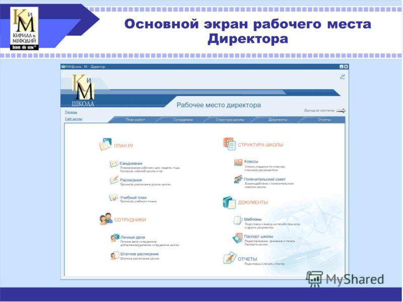 Основной экран рабочего места Директора