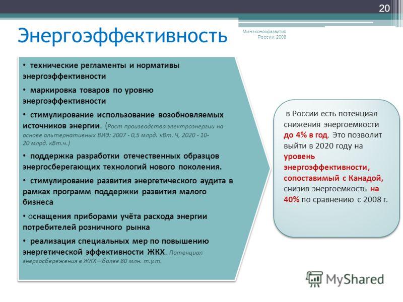 Энергоэффективность Минэкономразвития России, 2008 20 в России есть потенциал снижения энергоемкости до 4% в год. Это позволит выйти в 2020 году на уровень энергоэффективности, сопоставимый с Канадой, снизив энергоемкость на 40% по сравнению с 2008 г