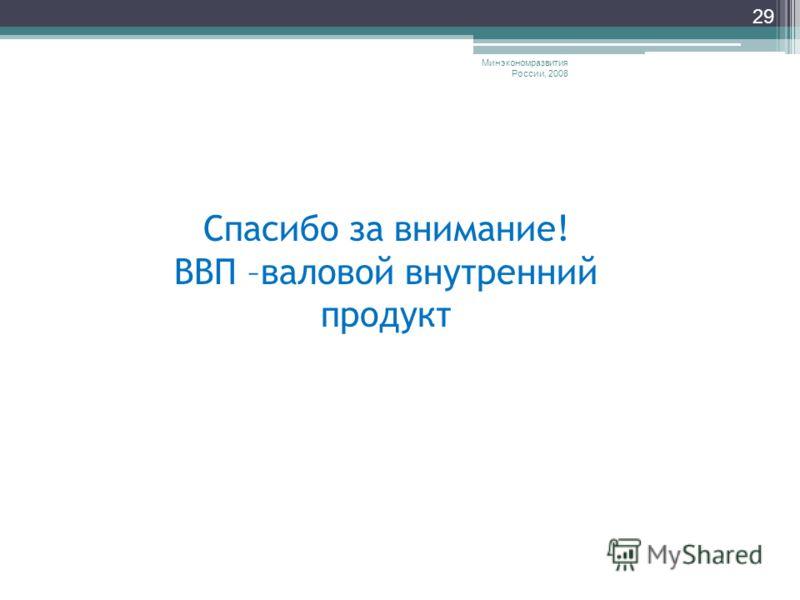 Минэкономразвития России, 2008 29 Спасибо за внимание! ВВП –валовой внутренний продукт