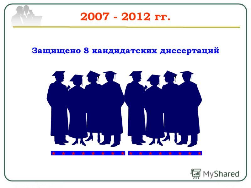 2007 - 2012 гг. Защищено 8 кандидатских диссертаций