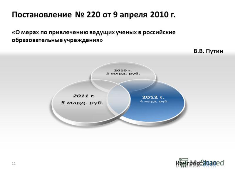 «О мерах по привлечению ведущих ученых в российские образовательные учреждения» В.В. Путин 11