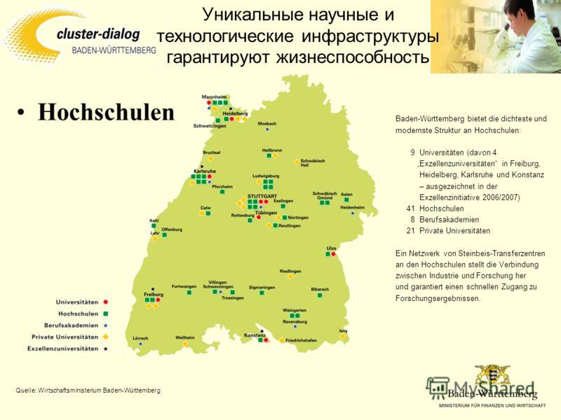 Уникальные научные и технологические инфраструктуры гарантируют жизнеспособность Hochschulen Baden-Württemberg bietet die dichteste und modernste Struktur an Hochschulen: 9Universitäten (davon 4 Exzellenzuniversitäten in Freiburg, Heidelberg, Karlsru
