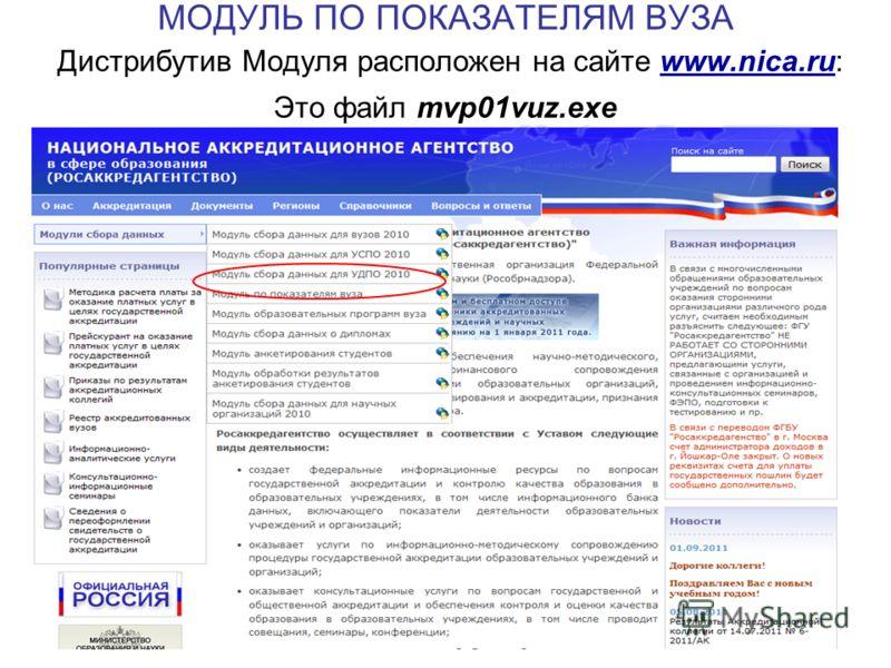 25 МОДУЛЬ ПО ПОКАЗАТЕЛЯМ ВУЗА Дистрибутив Модуля расположен на сайте www.nica.ru: Это файл mvp01vuz.exe