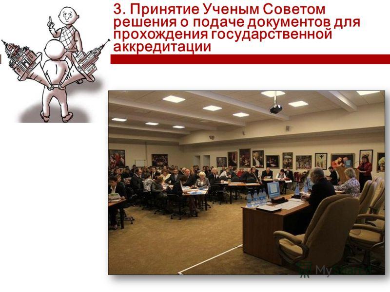 3. Принятие Ученым Советом решения о подаче документов для прохождения государственной аккредитации