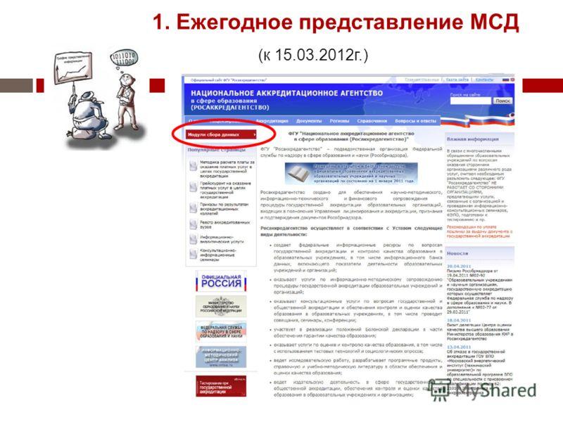 1. Ежегодное представление МСД (к 15.03.2012г.)