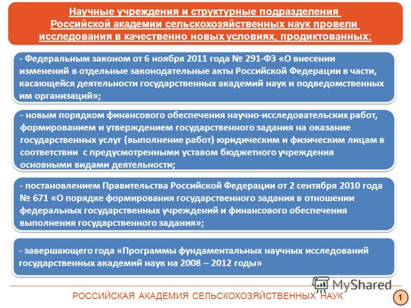 Научные учреждения и структурные подразделения Российской академии сельскохозяйственных наук провели исследования в качественно новых условиях, продиктованных: РОССИЙСКАЯ АКАДЕМИЯ СЕЛЬСКОХОЗЯЙСТВЕННЫХ НАУК 1 - Федеральным законом от 6 ноября 2011 год