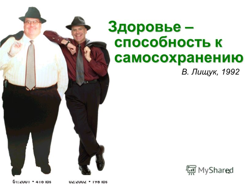12 Здоровье – способность к самосохранению В. Лищук, 1992