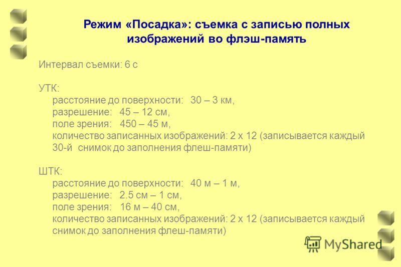 Режим «Посадка»: съемка с записью полных изображений во флэш-память Интервал съемки: 6 с УТК: расстояние до поверхности: 30 – 3 км, разрешение: 45 – 12 см, поле зрения: 450 – 45 м, количество записанных изображений: 2 х 12 (записывается каждый 30-й с