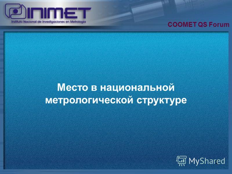 2 Место в национальной метрологической структуре COOMET QS Forum