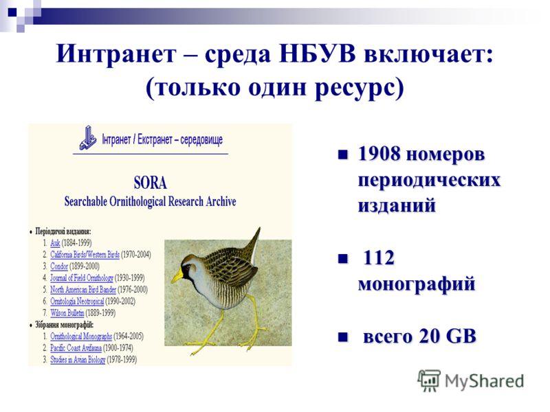 Интранет – среда НБУВ включает: (только один ресурс) 1908 номеров периодических изданий 1908 номеров периодических изданий 112 монографий 112 монографий всего 20 GB всего 20 GB