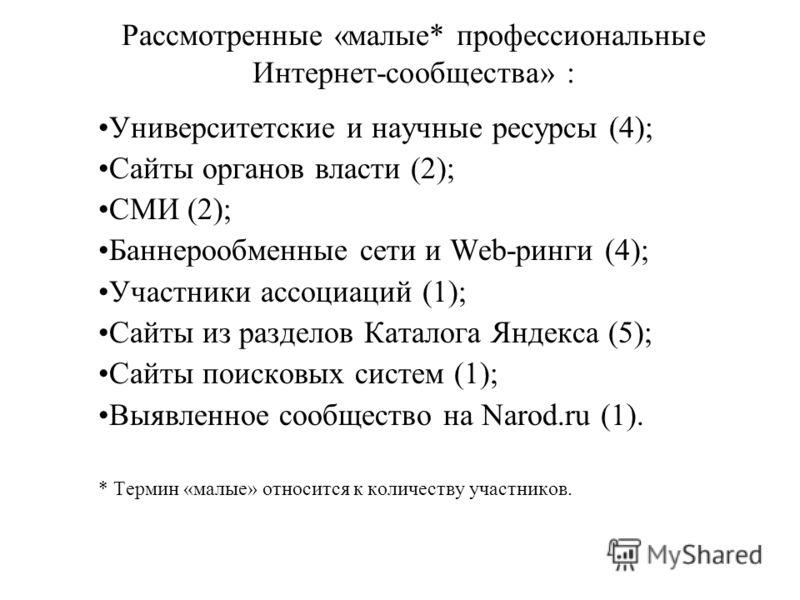 Рассмотренные «малые* профессиональные Интернет-сообщества» : Университетские и научные ресурсы (4); Сайты органов власти (2); СМИ (2); Баннерообменные сети и Web-ринги (4); Участники ассоциаций (1); Сайты из разделов Каталога Яндекса (5); Сайты поис