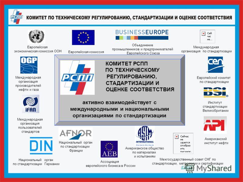Европейская экономическая комиссия ООН Европейская комиссия Объединение промышленников и предпринимателей Европейского Союза Межгосударственный совет СНГ по стандартизации, метрологии и сертификации (EASC) ) (EASC) Международная организация производи