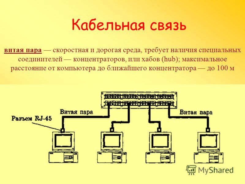 Кабельная связь витая пара скоростная и дорогая среда, требует наличия специальных соединителей концентраторов, или хабов (hub); максимальное расстояние от компьютера до ближайшего концентратора до 100 м