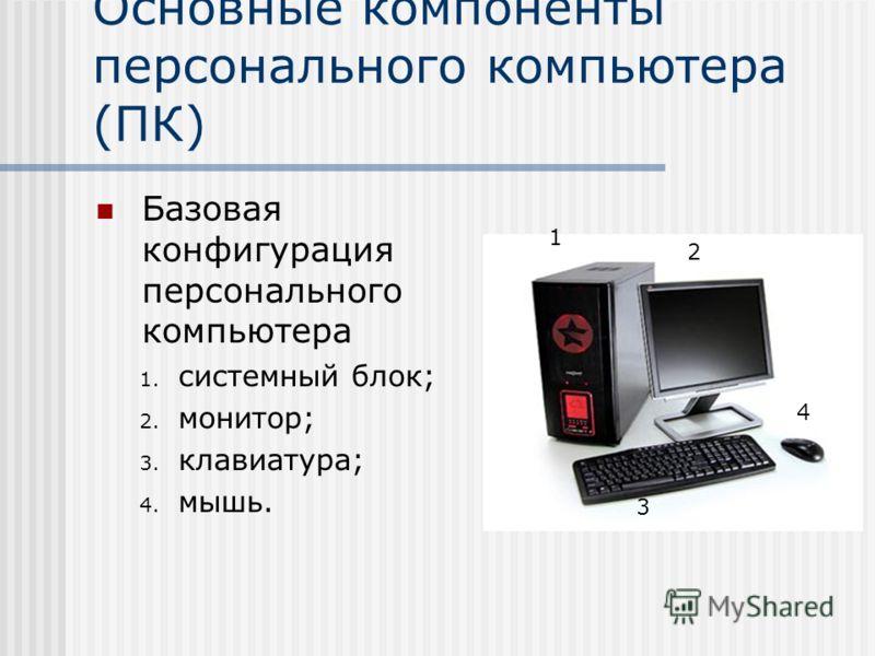 Основные компоненты персонального компьютера (ПК) Базовая конфигурация персонального компьютера 1. системный блок; 2. монитор; 3. клавиатура; 4. мышь. 1 2 3 4