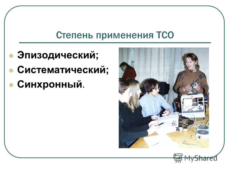Степень применения ТСО Эпизодический; Систематический; Синхронный.