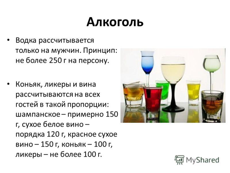 Алкоголь Водка рассчитывается только на мужчин. Принцип: не более 250 г на персону. Коньяк, ликеры и вина рассчитываются на всех гостей в такой пропорции: шампанское – примерно 150 г, сухое белое вино – порядка 120 г, красное сухое вино – 150 г, конь